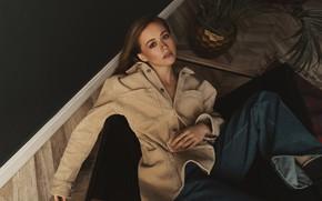 Picture girl, pose, jeans, jacket, Vlad Popov, Ксения Гусева