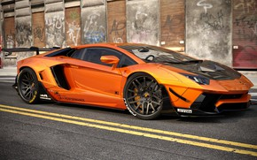Picture Auto, Lamborghini, Machine, Orange, Car, Auto, Render, Aventador, Lamborghini Aventador, Rendering, Supercar, Sports car, Sportcar, …