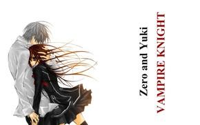 Picture long hair, art, hug, students, vampire knight, yuuki cross, knight-vampire, white shirt, matsuri hino, zero …