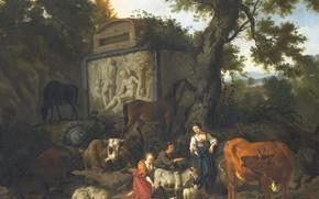 Picture oil, picture, canvas, Dirck van Bergen, 1690, Dirk van Bergen, Landscape with Shepherds and Cattle …