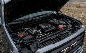 Picture pickup, motor, 2018, GMC, Sierra, Crew Cab, under the hood, 2019, Elevation