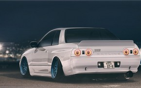 Picture white, Auto, Machine, Nissan, Skyline, Nissan Skyline, Rendering, Nissan Skyline R32, Christer Stormark, by Christer …