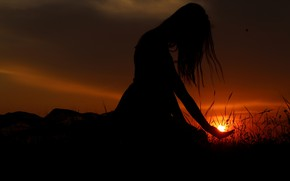 Picture GIRL, HAIR, The SUN, SUNSET, SILHOUETTE, PALM