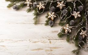 Picture branches, new year, decoration, gingerbread, spruce