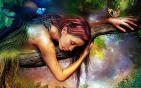 Picture girl, branch, sleeping, photoart