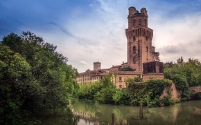 Picture the sky, clouds, trees, river, the building, tower, Italy, Astronomical Observatory Padova