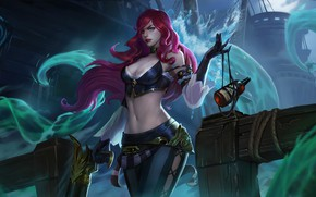 Picture water, girl, bottle, League Of Legends, Miss Fortune