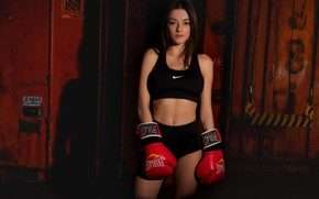 Picture red, Paris, shorts, sports, shadow, gym, pretty face, slim figure, boxing gloves, pretty eyes, gorgeous …