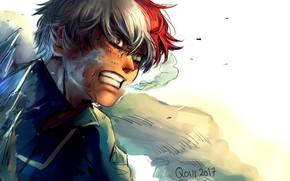 Picture anger, smoke, anime, art, Boku no Hero Academy, My hero Academy, Todoroki Shoto