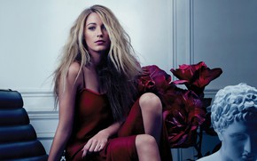 Picture look, girl, flowers, pose, dress, actress, blonde, Blake Lively