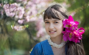 Picture flowers, girl, bokeh