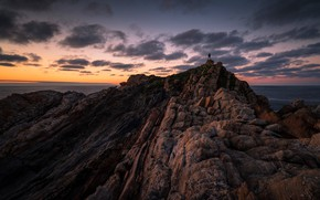 Picture sea, the sky, sunset, rock, open, rocks, shore, people, height, figure, silhouette, male, guy, is, …