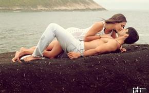 Picture sea, girl, passion, desire, feelings, kiss, male