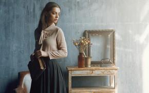Picture girl, pose, mood, frame, book, iron, Lydia Samodurova, Наталия Янкелевич, засохшие цветы