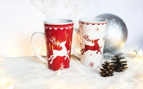 Picture decoration, snowflakes, background, holiday, toys, two, Shine, new year, Christmas, light, ball, pair, fur, mugs, …