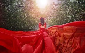 Picture girl, red, back, garden, dress, photographer Malika Drobot