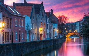 Picture winter, bridge, the city, building, home, morning, lighting, lights, channel, Belgium, Bruges