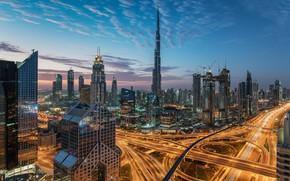 Picture the sky, clouds, the city, lights, view, building, tower, height, skyscrapers, the evening, morning, Dubai, …