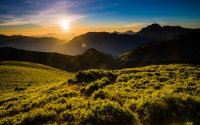 Picture greens, summer, the sky, grass, the sun, clouds, rays, light, landscape, mountains, nature, fog, glare, …