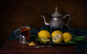 Picture lemon, tea, kettle, still life