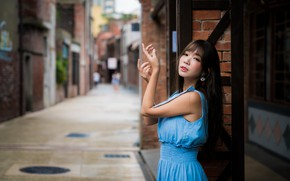 Picture pose, hands, Asian, street, bokeh