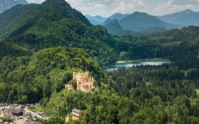 Picture forest, mountains, lake, castle, Germany, Hohenschwangau, Hohenschwangau Castle