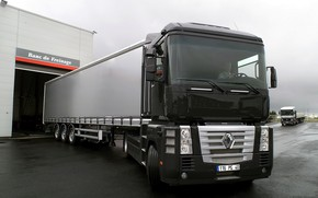 Picture black, composition, truck, Renault, Magnum, tractor, 4x2, the trailer, Renault Trucks