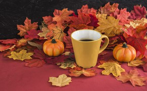Picture autumn, leaves, background, tree, coffee, colorful, harvest, mug, Cup, pumpkin, vintage, wood, background, autumn, leaves, ...