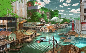 Picture water, Japan, fantasy, Tokyo, ruins