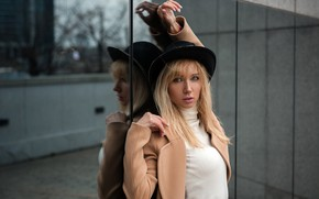 Picture look, pose, reflection, model, the building, portrait, hat, makeup, hairstyle, blonde, beauty, jacket, coat, Andrey …