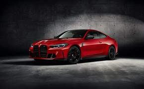 Picture car, machine, wall, BMW, red car, wheel, red car, coupe, BMW M4, sports car, BMW …