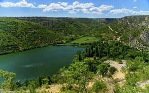 Picture lake, Park, photo, hills, Croatia, Krka National Park