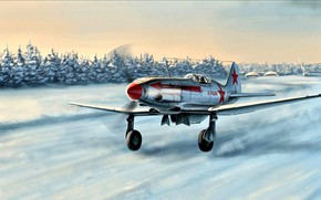 Wallpaper Winter, Snow, fighter, The rise, The MiG-3, Soviet, The second World war, high-altitude interceptor, Red ...
