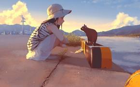 Picture summer, river, hills, girl, promenade, Panama, art, pink clouds, black cat, squats, striped shirt, Morifumi
