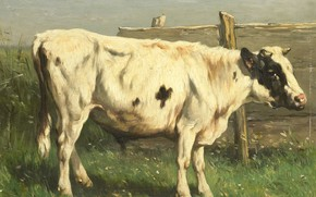 Picture oil, picture, 1892, Johannes Hubertus Leonardus de Haas, Young bull, Johannes Hubertus Leonardus de Haas