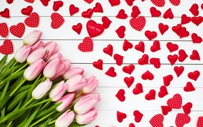Picture love, flowers, bouquet, hearts, tulips, love, pink, wood, pink, flowers, romantic, hearts, tulips, valentine's day