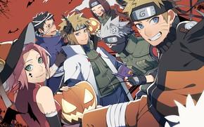 Picture holiday, anime, art, Naruto, Naruto, characters, Halloween