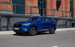 Picture car, machine, wall, street, car, blue, blue car, Haval, Haval F7, crossover, Chinese machine