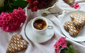 Picture flowers, table, coffee, cookies, plate, grapes, spoon, Cup, saucer, tablecloth, bokeh