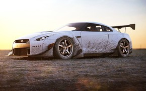 Picture Auto, White, Machine, Dirt, Car, Rendering, Nissan GT-R, Transport & Vehicles, Xianhua 1991