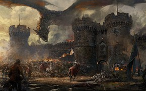 Picture fire, wall, fantasy, Dragon, soldiers, armor, smoke, army, horse, castle, weapons, artwork, fantasy art, victories, …