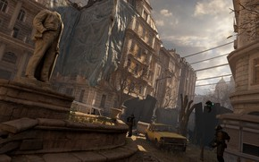 Picture machine, the sky, the city, the skeleton, monument, soldiers, Half-Life Alyx
