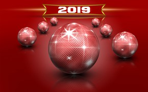 Picture glare, red, balls, new year, Christmas, christmas, new year, фон background, tekstura, new year 2019, …