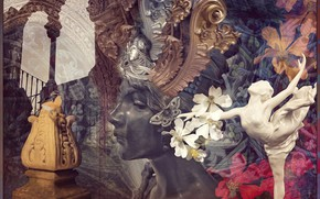 Picture girl, flowers, collage, art, statue, ballerina