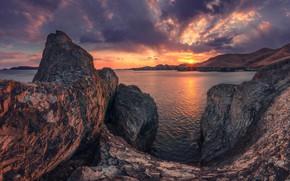 Picture the sun, rays, landscape, sunset, nature, rocks, coast, The sea of Japan