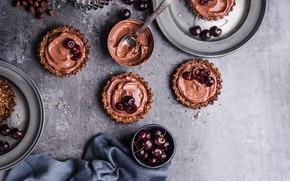 Picture cherry, chocolate, cake, cream, dessert, tartlets