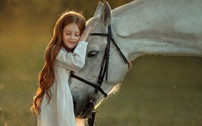 Picture emotions, horse, horse, friendship, girl
