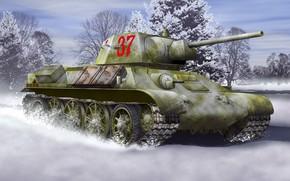 Picture winter, Art, The great Patriotic war, T-34-76, model 1942