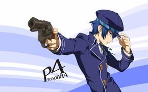 Picture gun, the game, anime, art, cap, guy, coat, person, Persona