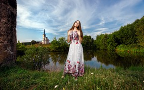 Picture girl, lake, pond, shore, dress, Church, Russian, embroidery, Russian style